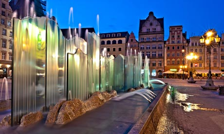 Contemporary fountain in Wroclaw old town, Poland